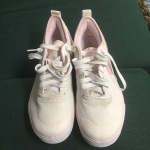 White and pink canvas Nike sneakers